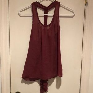 Charlotte Russe Maroon Chiffon Tank with Bow